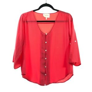 Yumi Kim S Coral Pink 100% Silk Button Down Blouse